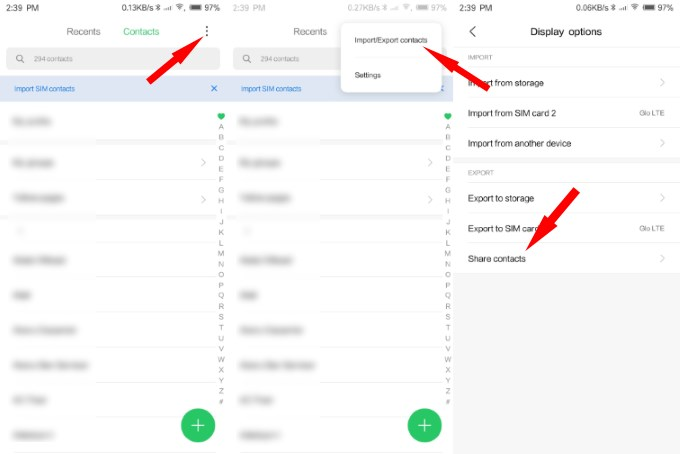 export contacts from Xiaomi Android phone to iPhone