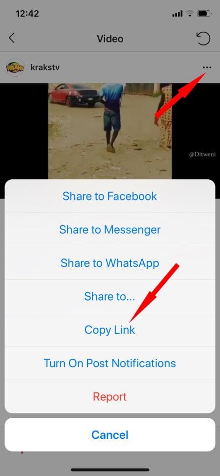 copy instagram video link