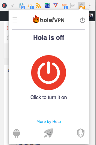 turn on Hola VPN to hide last name on Facebook