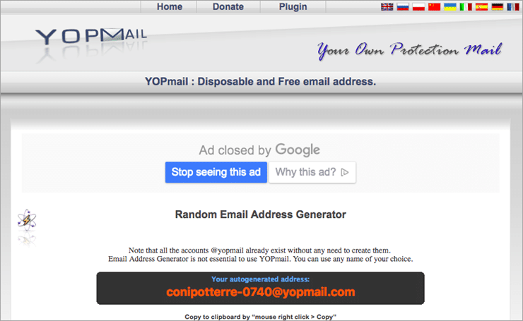 YOPmail fake email generator tool