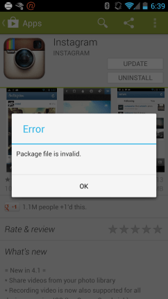 Instagram Update Error