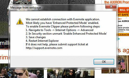 Evernote Web Clipper Error