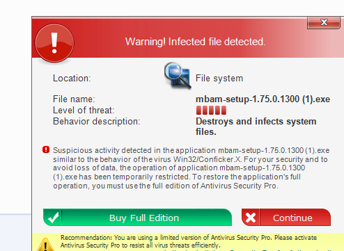 Warning! Infected file detected!