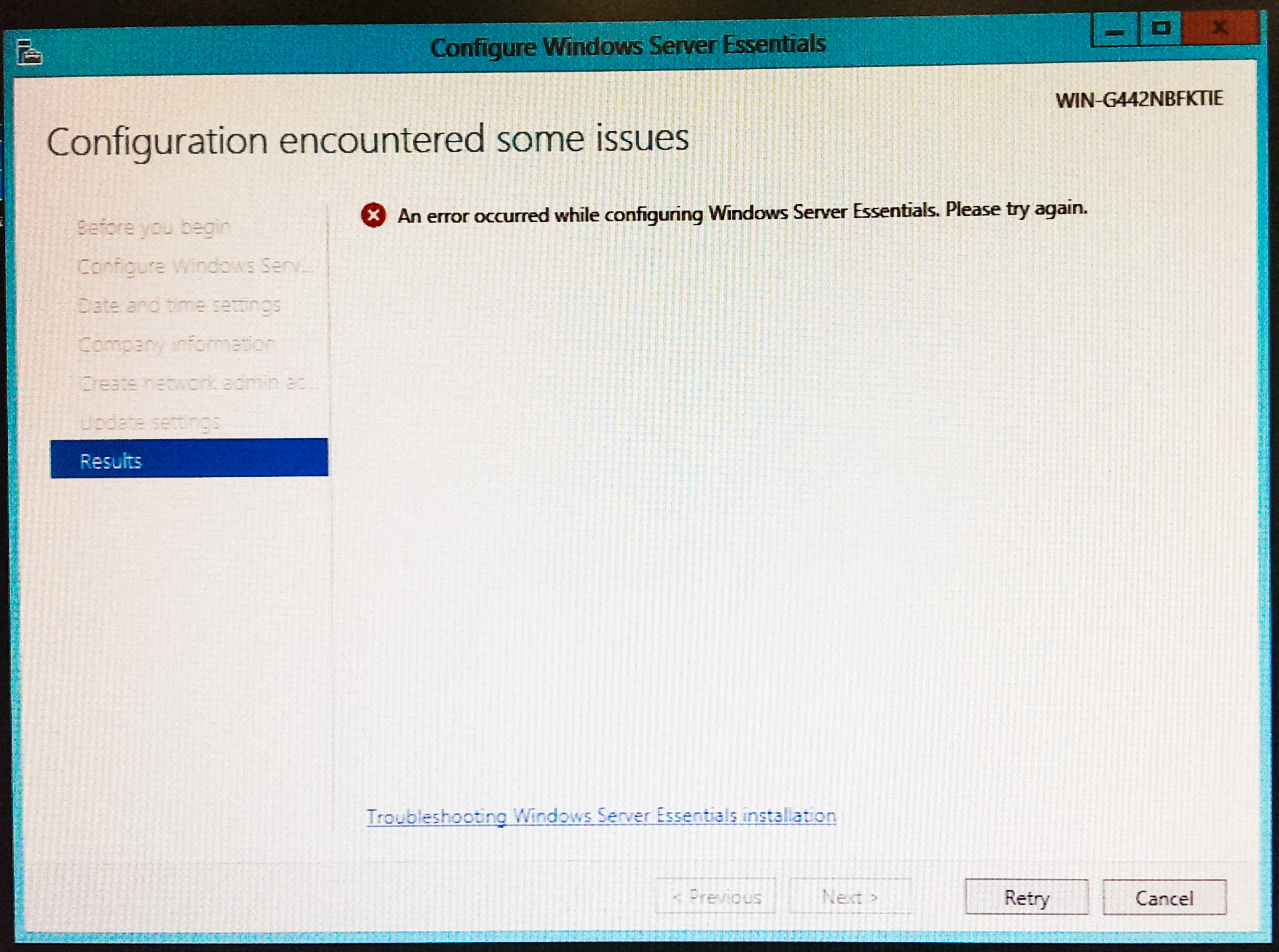 An error occurred while configuring Windows Server