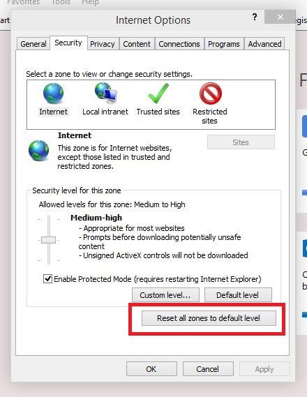 Reset Internet Explorer Security