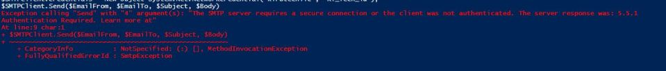 Powershell SMTP Server Error