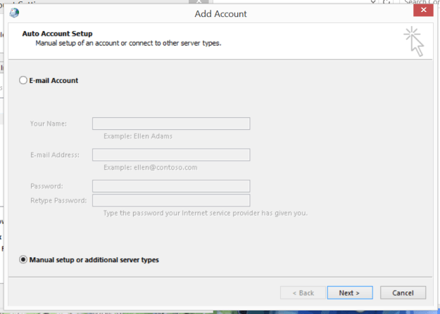 Manual Configure of Email Account