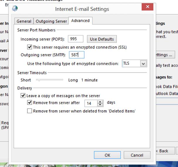 Gmail Server Port Settings