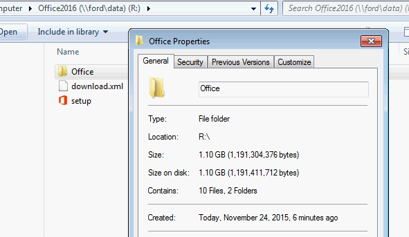 1.10GB Office 2016 folder