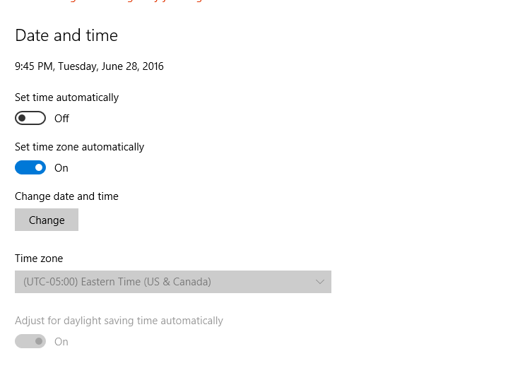 Windows 10 Time Zone Settings