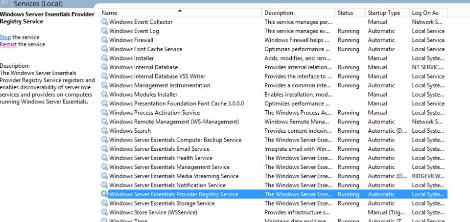 Restart Windows Server Essentials Provider Service