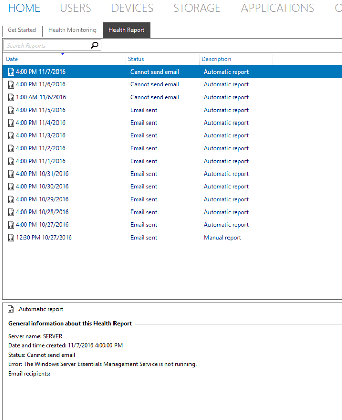 Server Essentials 2012 & 2016 Can't Email Health Reports