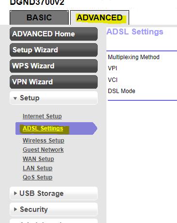 ADSL Settings Netgear N600