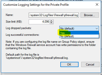 WIndows Firewall Logging Successful