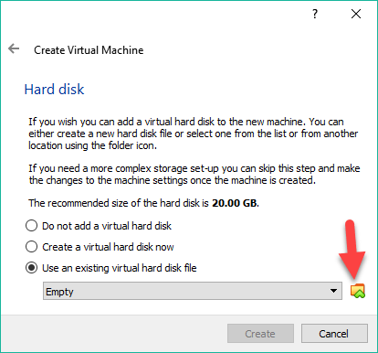 Select the vmdk file