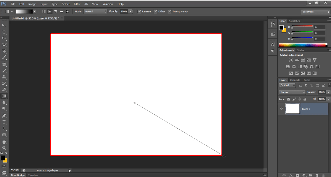applying gradient on white page