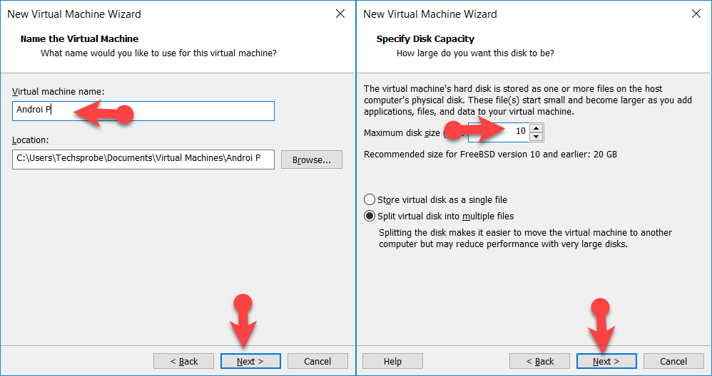 Name the Virtual and manage the storage