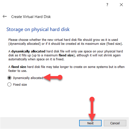 Storage on hard disk physical