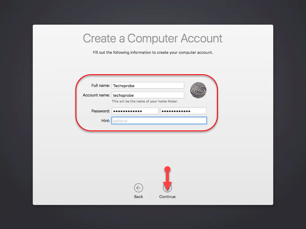 Create your computer account