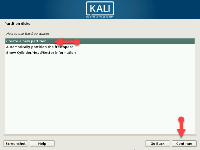 Select create a new partition