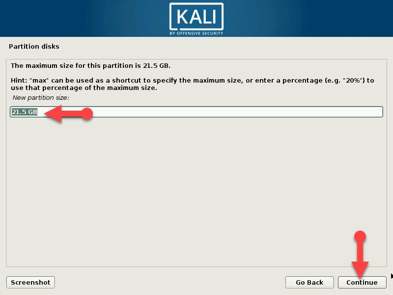 Choose a new partition size
