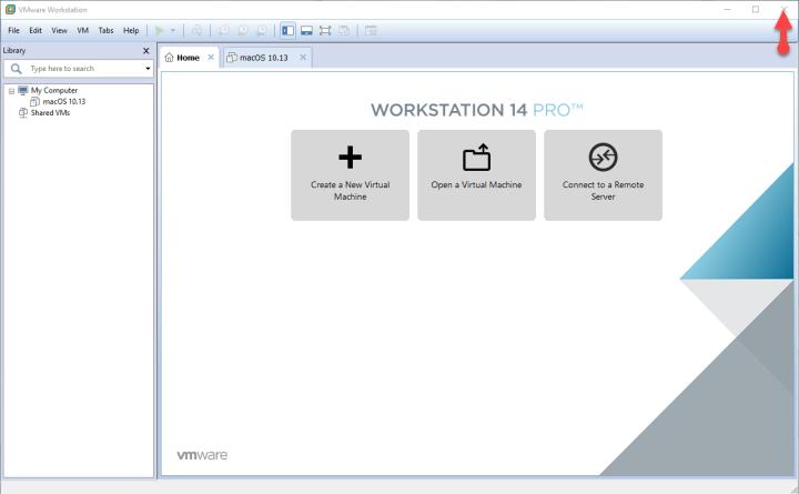 Close VMware Workstation