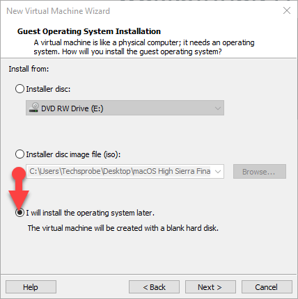Guest operating system installation