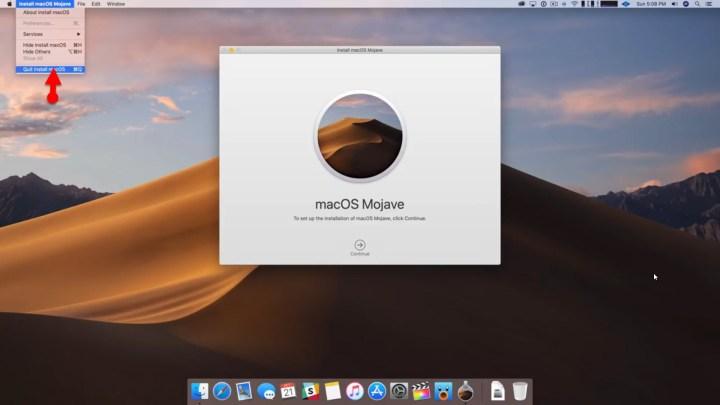 Quit install MacOS