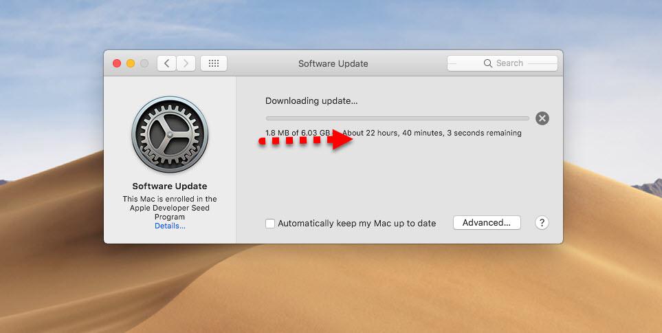 Downloading macOS Mojave