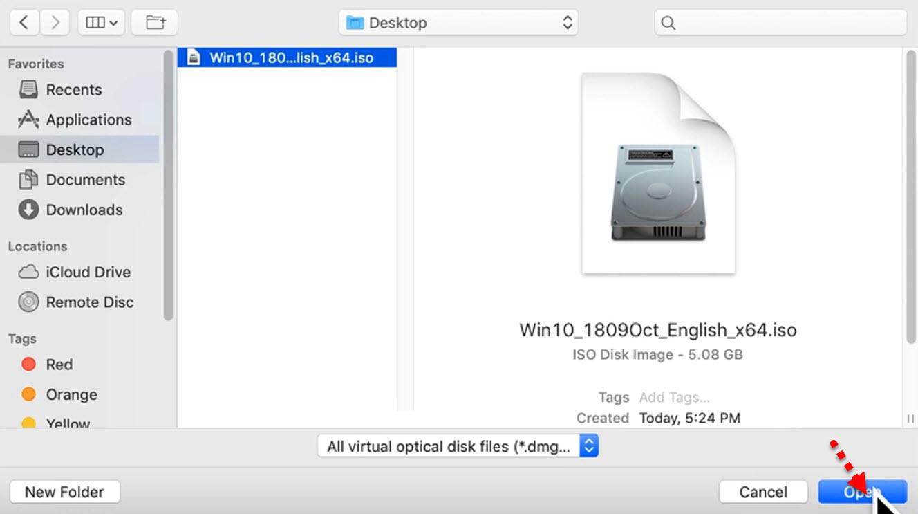 Open Windows 10 ISO file