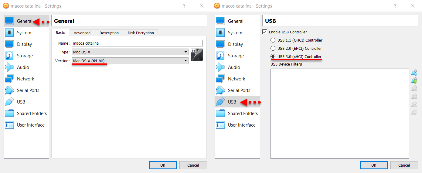 Change the VM operating system version, Enable USB 3.0 Controller