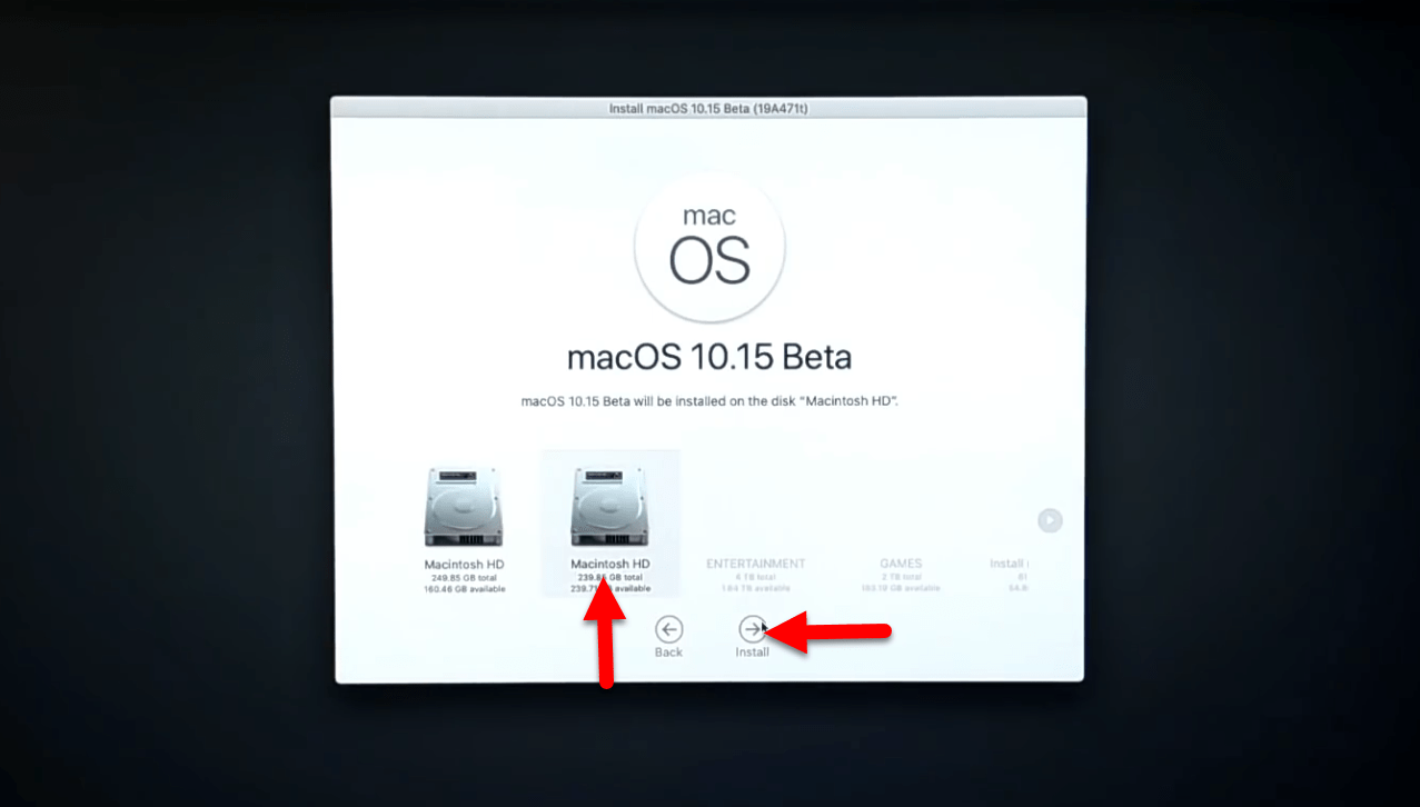 Install macOS Catalina on Macintosh HD