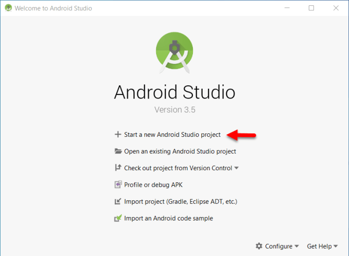 Start a new Android Studio project