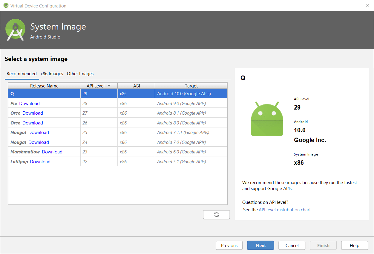 Android Q installed on Android Studio