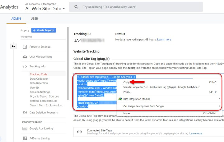 Copy website tracking code