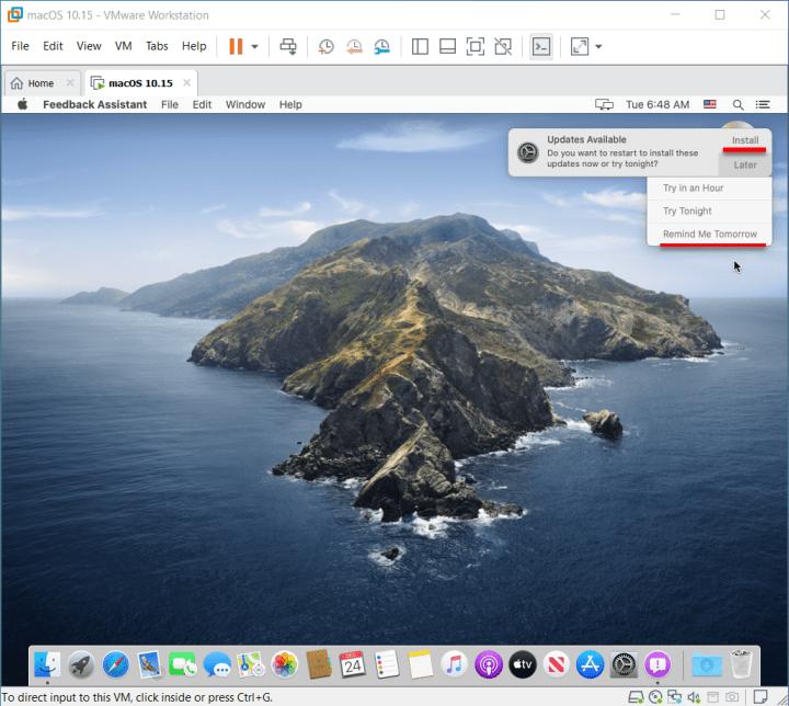 Installed macOS Catalina