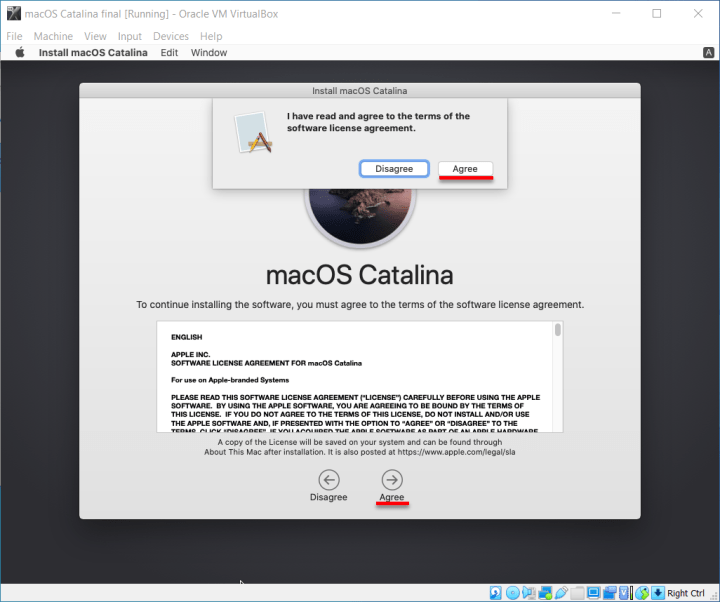 Agree to the terms and conditions of macOS Catalina
