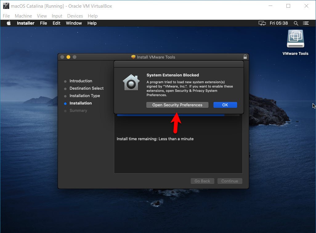 Click on System Security Preferences