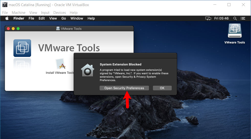 Open System Security Preferences