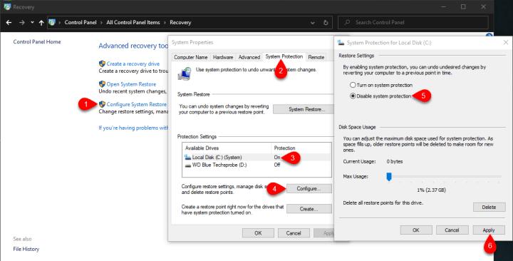 Configure system restore