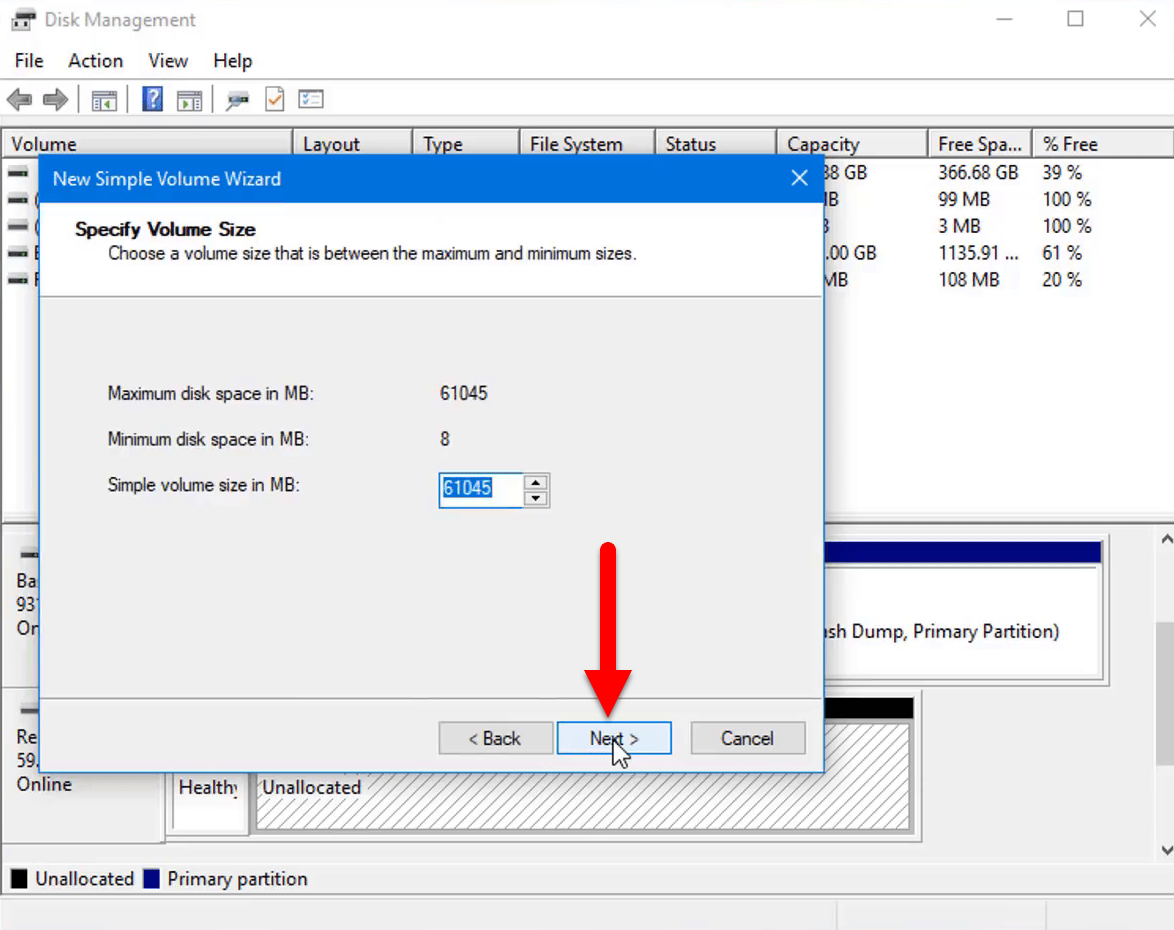 Select volume size