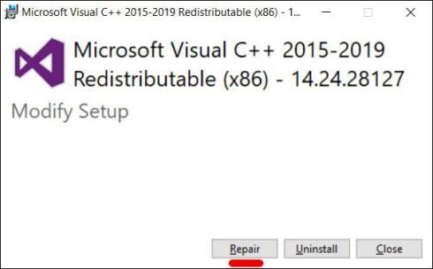 Repair Microsoft Visual C++ 2015 Redistributable