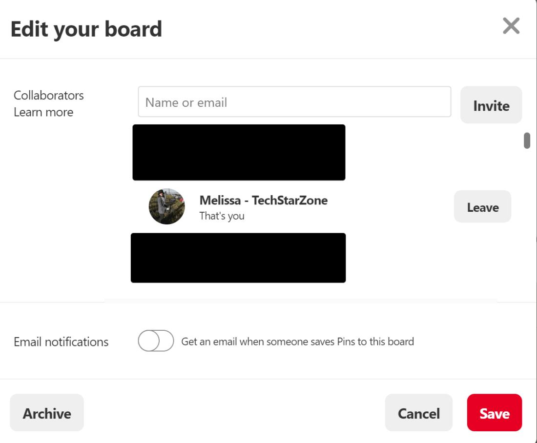 leave pinterest group board