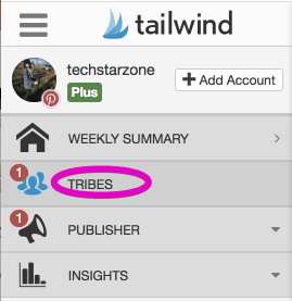 tailwind main menu tailwind tribes Pinterest group boards