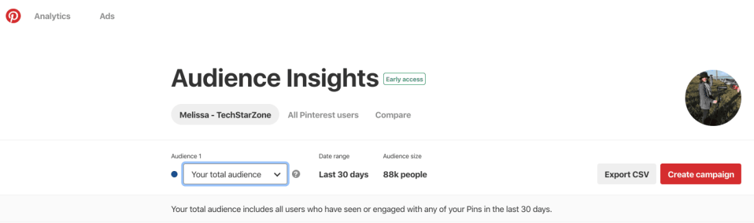 pinterest analytics audience insights