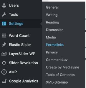 wordpress settings permalink structure