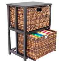 BirdRock Home Abaca 2 Tier File Cubby Cabinet - Natural Wood
