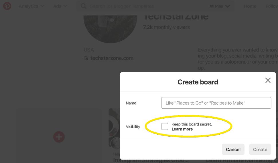 create private Pinterest board secret board