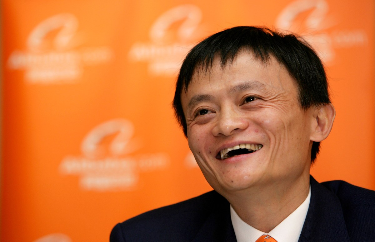 FILE PHOTO: Jack Ma, chairman and then-chief executive officer of Alibaba Group Holding Ltd., laughs at a news conference in Hong Kong, China, on Tuesday, Nov. 6, 2007. Alibaba, which rode China's emergence as an economic superpower over the last 15 years to become a massive online marketplace for everything from forks to forklifts, filed today for what could become the largest U.S. initial public offering ever. Photographer: Daniel J. Groshong/Bloomberg *** Local Caption *** Jack Ma