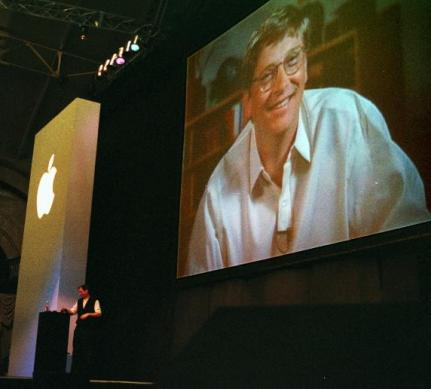 by-1997-jobs-was-apple-ceo-at-his-first-macworld-keynote-he-announced-that-he-had-accepted-an-investment-from-microsoft-to-keep-apple-afloat-bill-gates-appeared-on-a-huge-screen-via-satellite-uplink-t